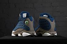 Кроссовки баскетбольные Nike Air Jordan 13 Blue/White/Grey, материал - кожа+нубук, фото 2