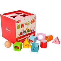 Деревянная развивающая игрушка куб Сортер MD 1077 Wooden Toys, фото 1