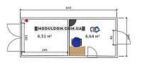 Вагончик под офис со складским помещением 6х2,4м.