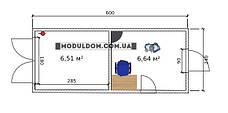 Вагончик под офис (6 х 2.4 м.) со складским помещением, на основе цельно-сварного металлокаркаса., фото 2