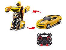 Машинка трансформер на радиоуправлении JQ Mighty TT671, машинка-робот, желтый