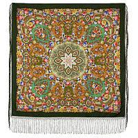 Злато-серебро 1731-10, павлопосадский платок (шаль) из уплотненной шерсти с шелковой вязанной бахромой, фото 1