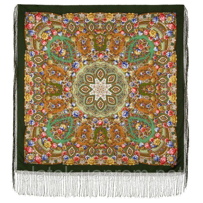 Злато-серебро 1731-10, павлопосадский платок (шаль) из уплотненной шерсти с шелковой вязанной бахромой