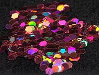 Голографический глиттер шестигранник 10 гр,  3 мм, розовый