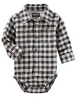 dbe72402eb5 Детская фланелевая боди рубашка в клетку OshKosh B gosh для мальчика