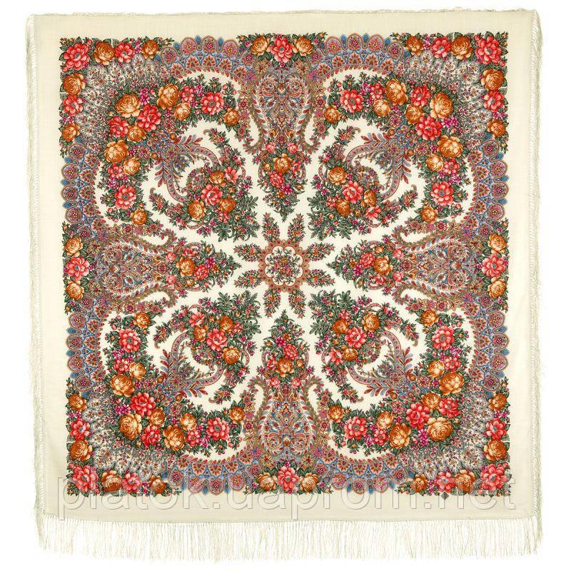 Ладога 1727-0, павлопосадский платок шерстяной  с шелковой бахромой