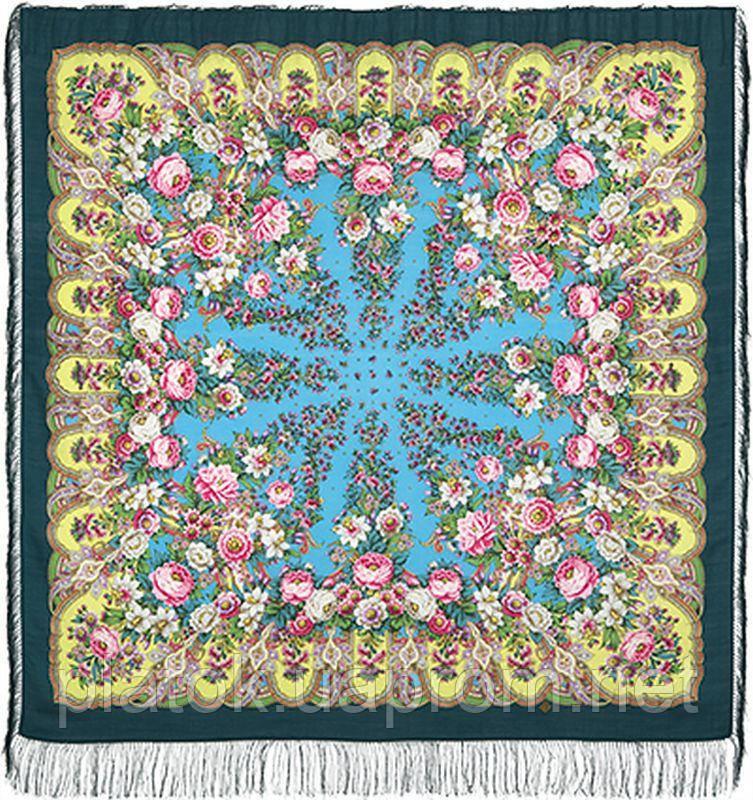 Лукоморье 1555-9, павлопосадский платок шерстяной  с шелковой бахромой