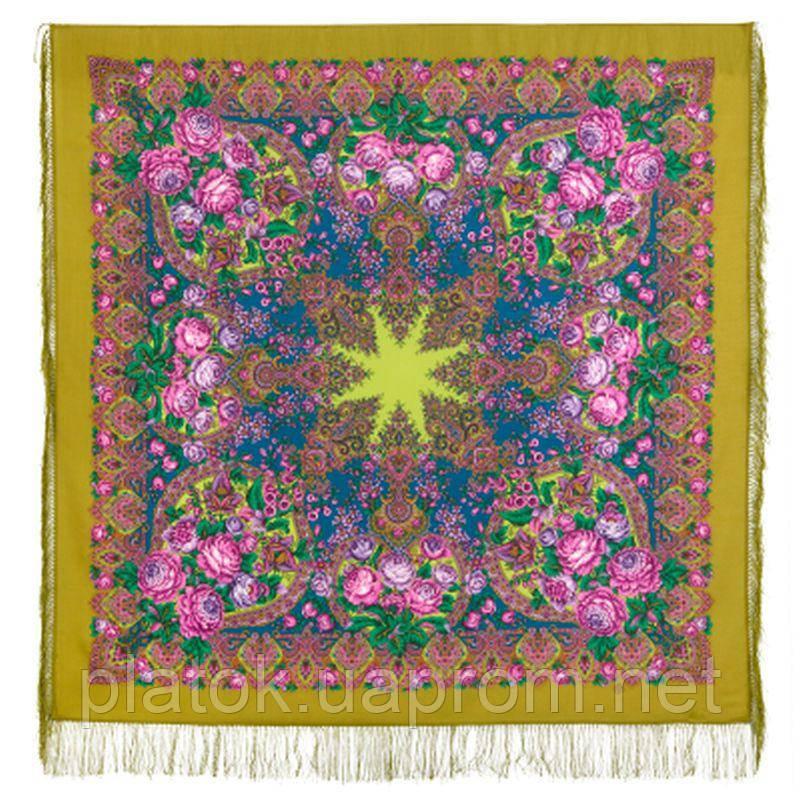 Медовый полдень 1724-2, павлопосадский платок шерстяной  с шелковой бахромой