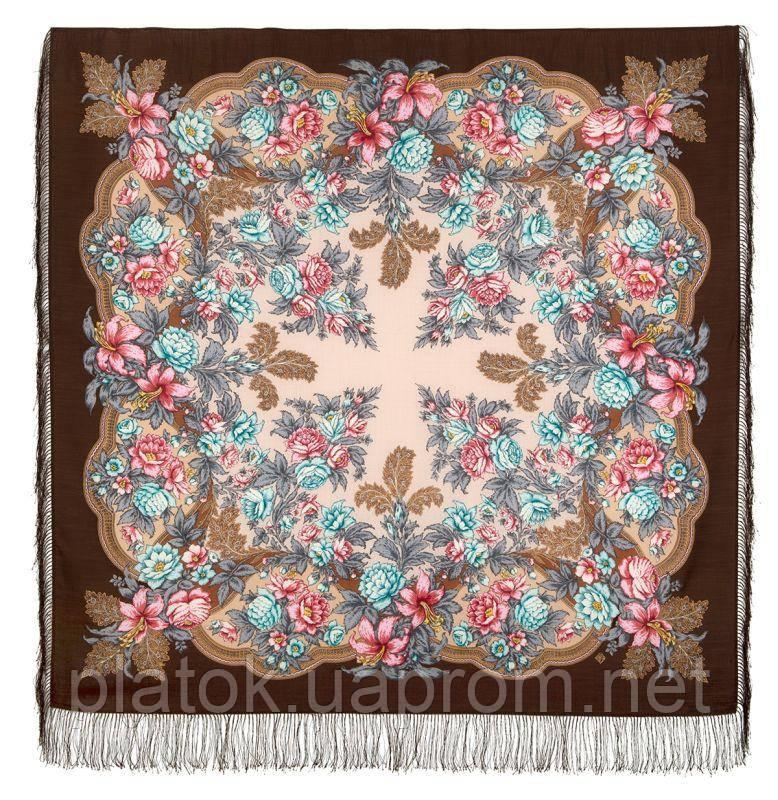 Пленительный июль 1730-16, павлопосадский платок шерстяной  с шелковой бахромой