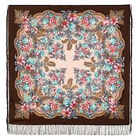 Пленительный июль 1730-16, павлопосадский платок шерстяной  с шелковой бахромой, фото 1