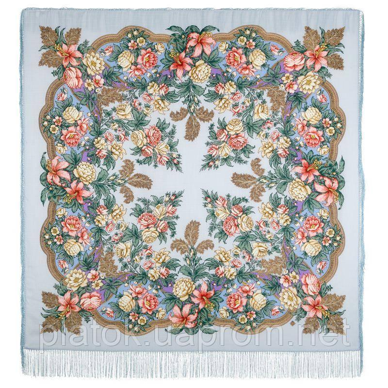 Пленительный июль 1730-1, павлопосадский платок шерстяной  с шелковой бахромой