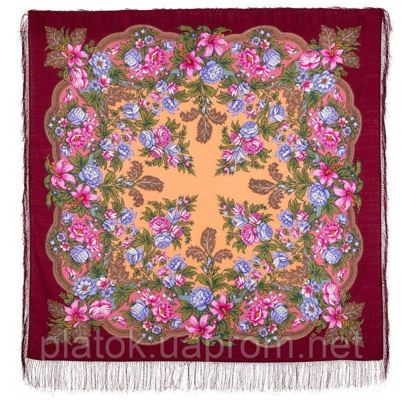 Пленительный июль 1730-6, павлопосадский платок шерстяной  с шелковой бахромой