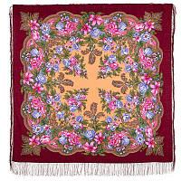 Пленительный июль 1730-6, павлопосадский платок шерстяной  с шелковой бахромой, фото 1