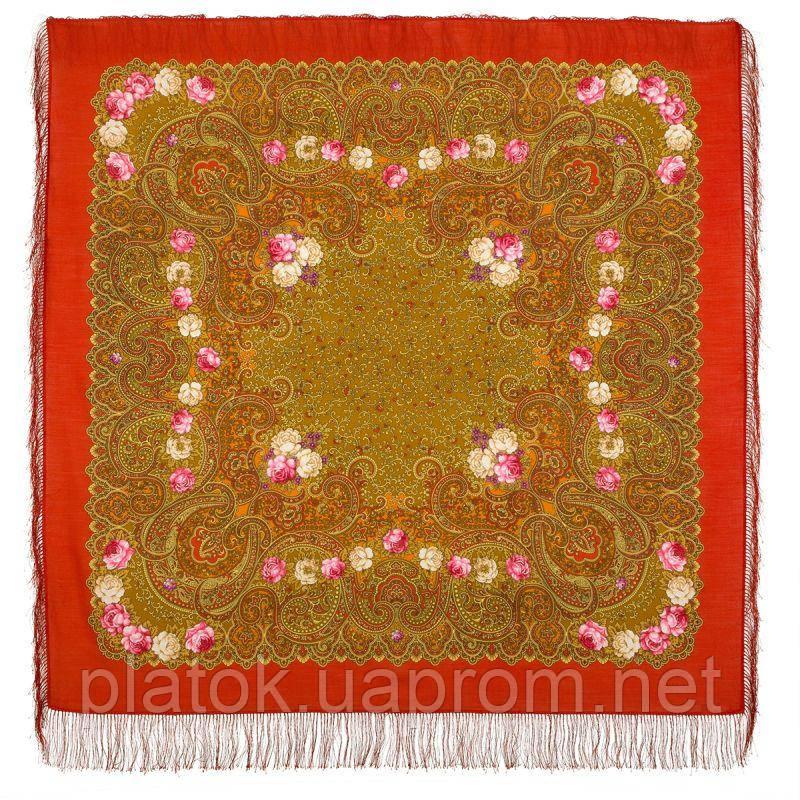 Торжество лета 1694-5, павлопосадский платок шерстяной  с шелковой бахромой