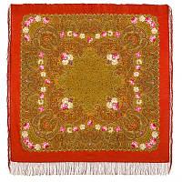 Торжество лета 1694-5, павлопосадский платок шерстяной  с шелковой бахромой, фото 1
