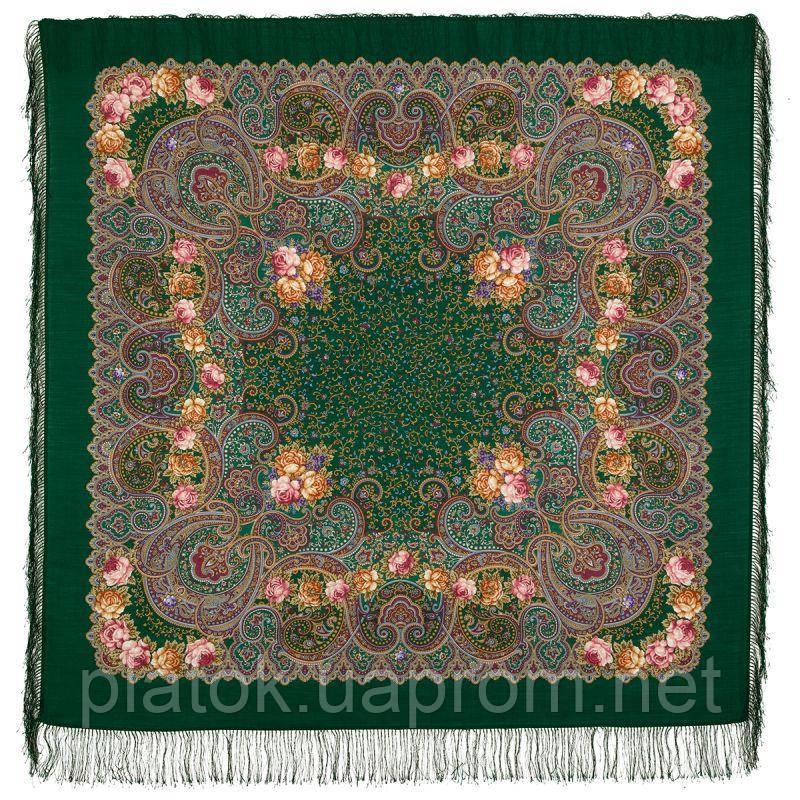 Торжество лета 1694-9, павлопосадский платок шерстяной  с шелковой бахромой