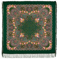 Торжество лета 1694-9, павлопосадский платок шерстяной  с шелковой бахромой, фото 1