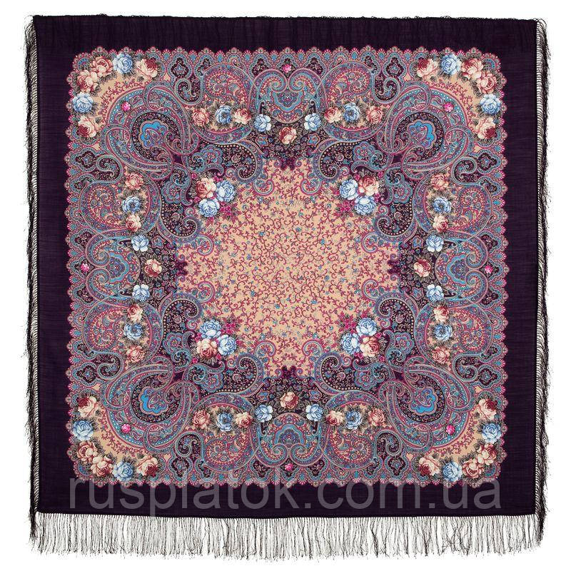 Торжество лета 1694-15, павлопосадский платок шерстяной  с шелковой бахромой