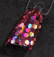 Голографический глиттер шестигранник 3 мм, розовый, фото 1