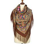 Осенний романс 1677-16, павлопосадский платок шерстяной (двуниточная шерсть) с шелковой бахромой, фото 2