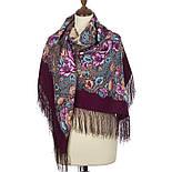 Цветочная симфония 1120-7, павлопосадский платок шерстяной (двуниточная шерсть) с шелковой бахромой, фото 2