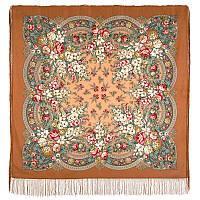 Златые дни 828-16, павлопосадский платок шерстяной с шелковой бахромой, фото 1