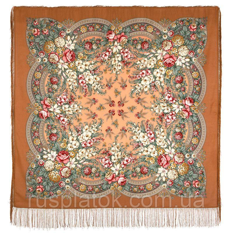 Златые дни 828-16, павлопосадский платок шерстяной с шелковой бахромой