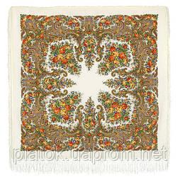 Лира 1720-1, павлопосадский платок шерстяной с шелковой бахромой