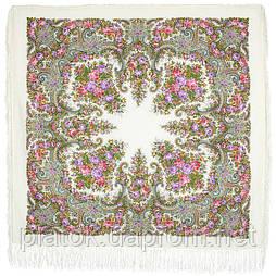 Лира 1720-3, павлопосадский платок шерстяной с шелковой бахромой
