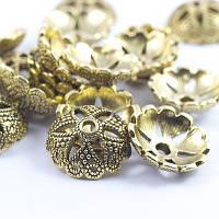 Шапочки для бусин металлические, цветок, цвет античное золото (2шт) УТ0028036