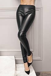 Чёрные облегающие брюки из эко-кожи