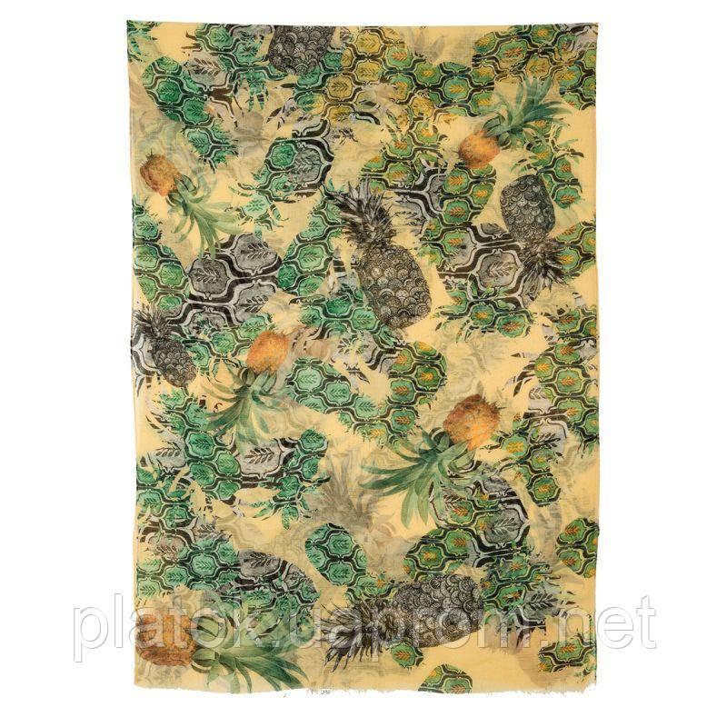 10235 палантин шерстяной 10235-2, павлопосадский шарф-палантин шерстяной (разреженная шерсть) с осыпкой