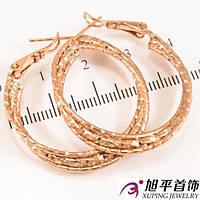 """Серьги-кольца позолота """"Тройной переплет"""" 3 см"""