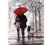 Пара під червоною парасолькою. 40х50см