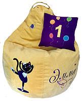 Детское Кресло бескаркасное мешок-пуф груша Кошки