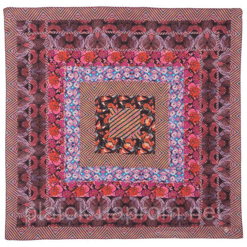 10148 платок шелковый (крепдешин) 10148-4, павлопосадский платок (крепдешин) шелковый с подрубкой