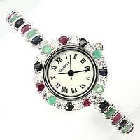 Серебряные часы с натуральным рубином, изумрудом и сапфиром