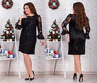 Великолепное вечернее платье до колен бархат+ пайетка на сетке Размеры: 48-50, 52-54, 56