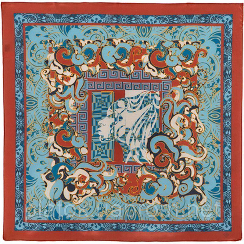 10146-4, павлопосадский шейный платок (крепдешин) шелковый с подрубкой