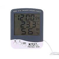 Домашний метеоприбор та-218а, термометр/гигрометр, часы, будильник, календарь, наружный термодатчик, 1*ааа