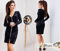 Черное бархатное платье на молнии