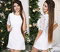 Вечернее платье с вшитым гипюровым болеро
