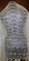 "Шаль """"Белоснежка"""" Ш-00120, серебристый, оренбургский платок (шаль)"