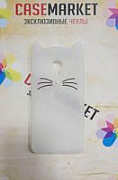 Объемный 3D силиконовый чехол для Meizu M3e Усатый кот белый