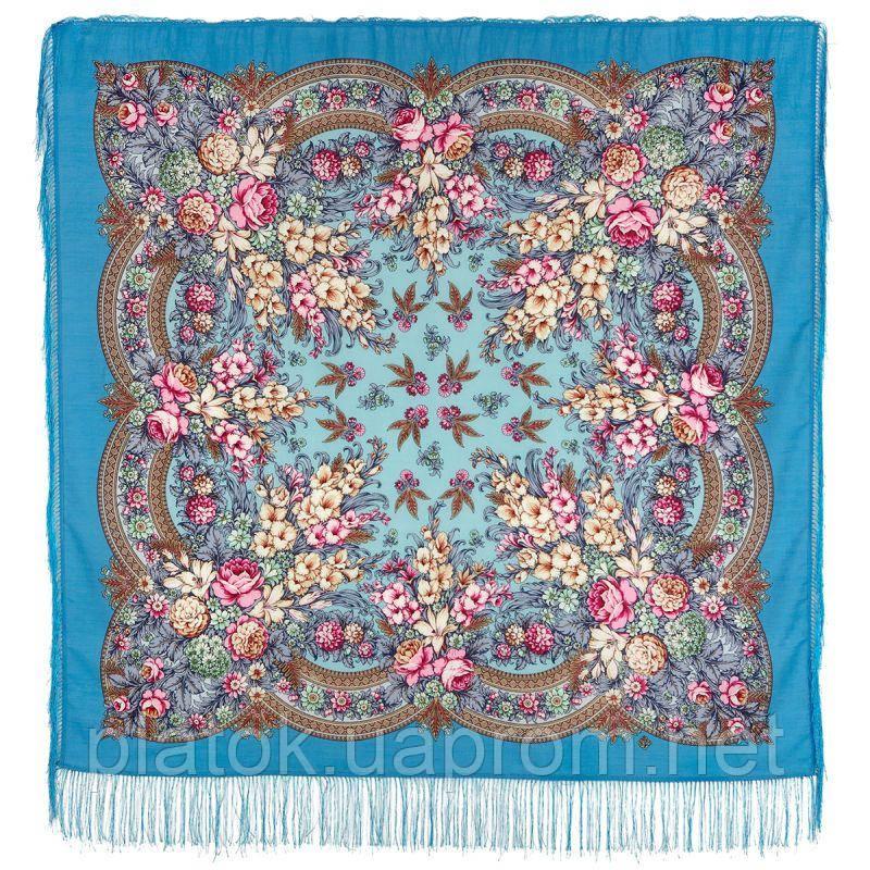 Златые дни 828-11, павлопосадский платок шерстяной с шелковой бахромой