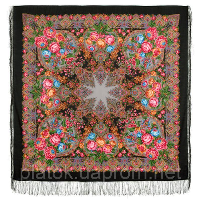Медовый полдень 1724-18, павлопосадский платок шерстяной  с шелковой бахромой   Стандартный сорт
