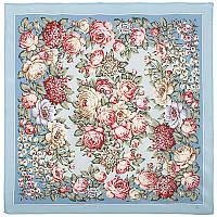 Чайные розы 1443-3, павлопосадский платок (крепдешин) шелковый с подрубкой   Стандартный сорт