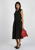 Чёрное платье миди из 100% льна , фото 1