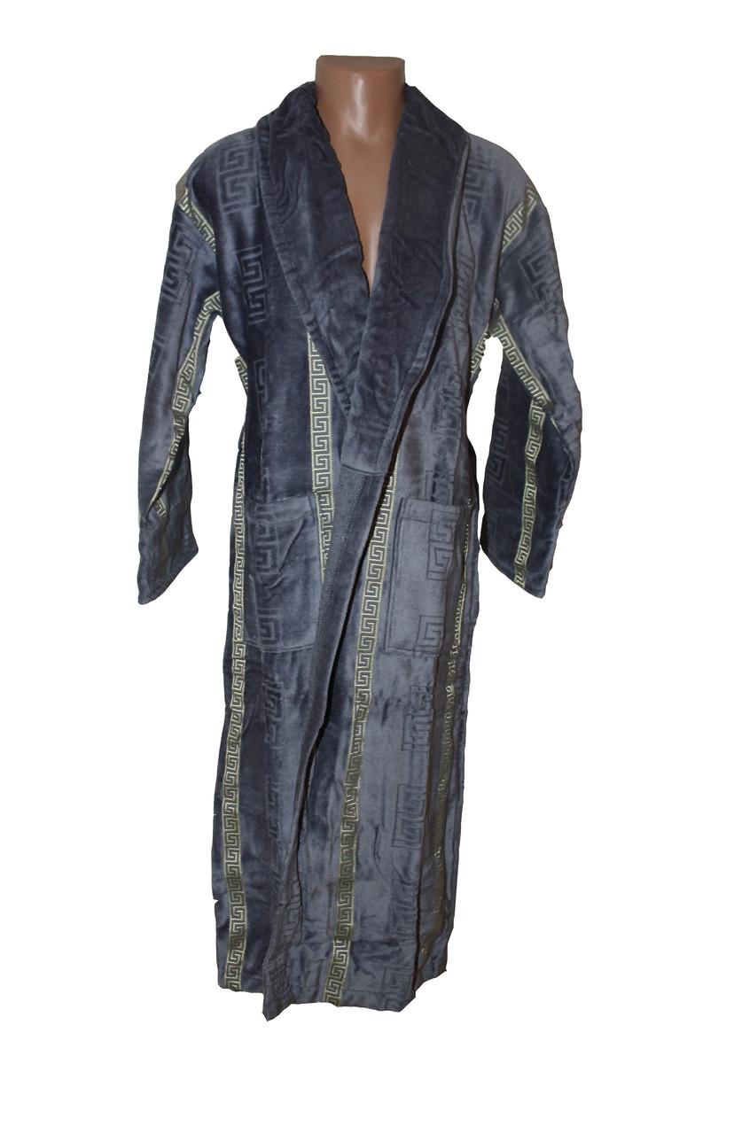 Египет длинный махровый халат для мужчин серого цвета