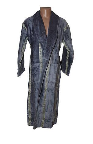 Египет длинный махровый халат для мужчин серого цвета, фото 2